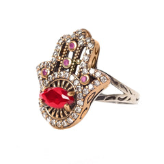 Ruby Hamsa Sterling Silver Ring - Armenian Jewelry