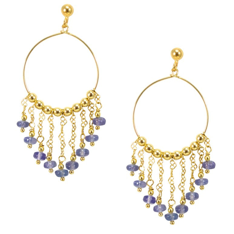 Afrodite Mini Hoop Earrings - Tanzanite Stones