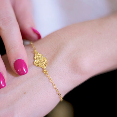 Single Gold Plated Sterling Silver Filigree Heart Chain Bracelet