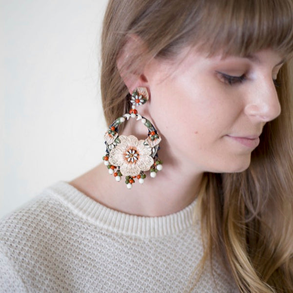 Embroidered Flower Circle Earrings by DUBLOS