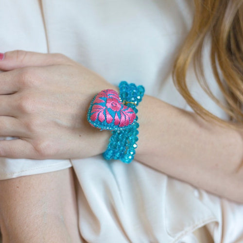 Deep Aqua Crystal Beads and Embroidered Heart Stretch Bracelet
