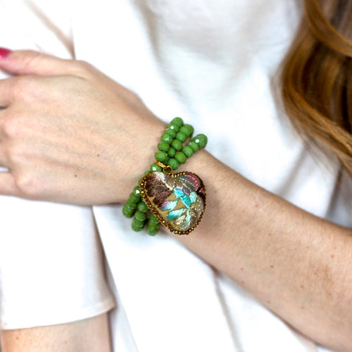 Moss GreenCrystal Beads and Embroidered Heart Stretch Bracelet