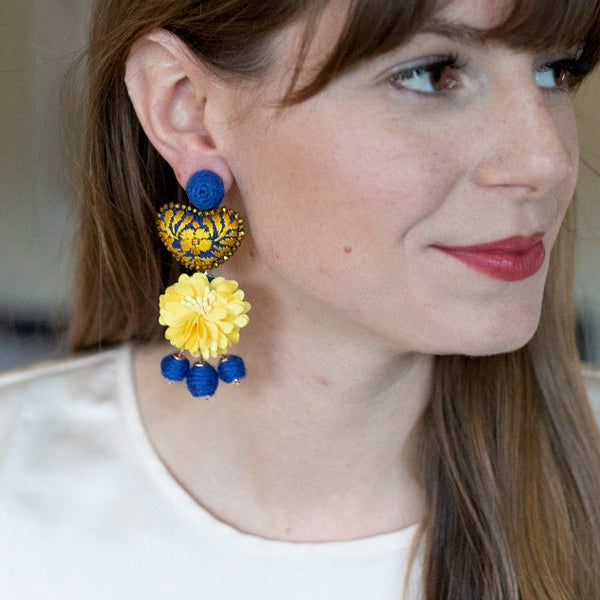 Yellow and Blue Floral Embellished Embroidered Heart Earrings