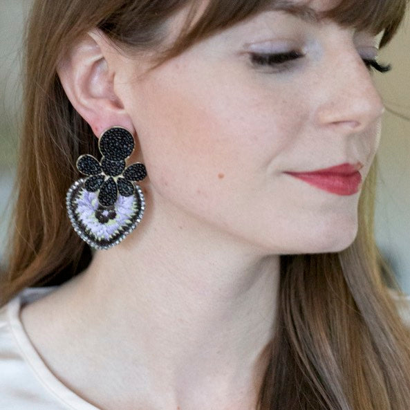 Bead and Embroidered Mexican Earrings