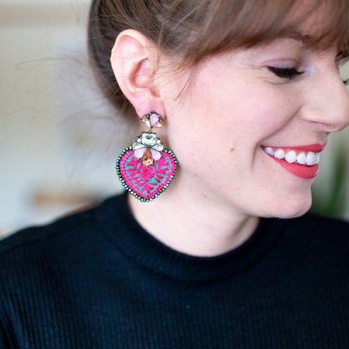 Crystal and Embroidered Heart Mexican Earrings
