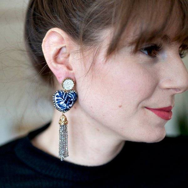 Navy Blue and White Embroidered and Tassel Mexican Earrings