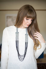 Embroidered and 5 Strand Glass Bead Necklace - Black