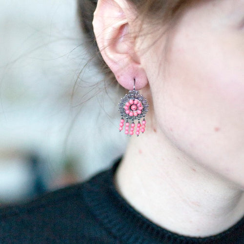 Rosa Silver Filigree Earrings from Oaxaca - Pink