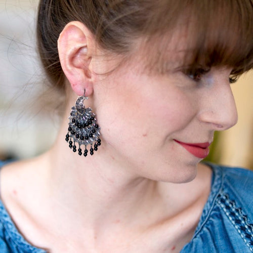 Sterling Silver Frida Kahlo Filigree Peacock Earrings
