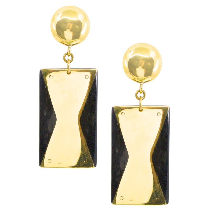 Zohali Brass and Horn Earrings