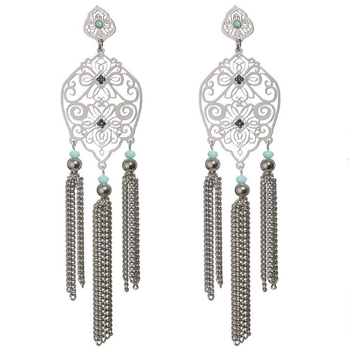 Silver Filigree and Triple Tassel Earrings by LK Designs