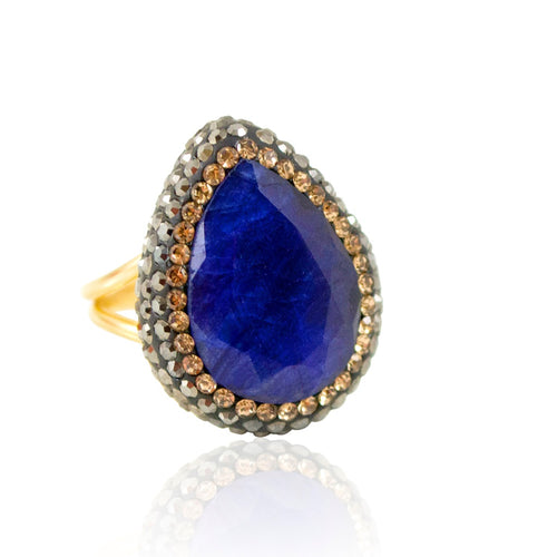 Semi-Precious Blue Sapphire Adjustable Ring
