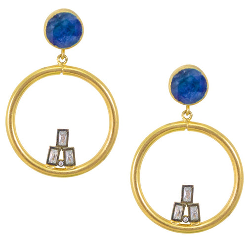Lapis and Crystal Earrings