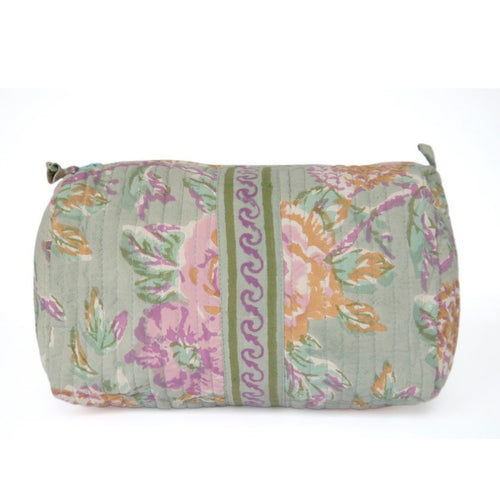 Hand Block Printed Toiletries Bag - LARGE in Vintage Rose