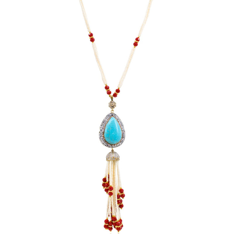 Long Vintage-Inspired Ottoman Turquoise Tassel Necklace