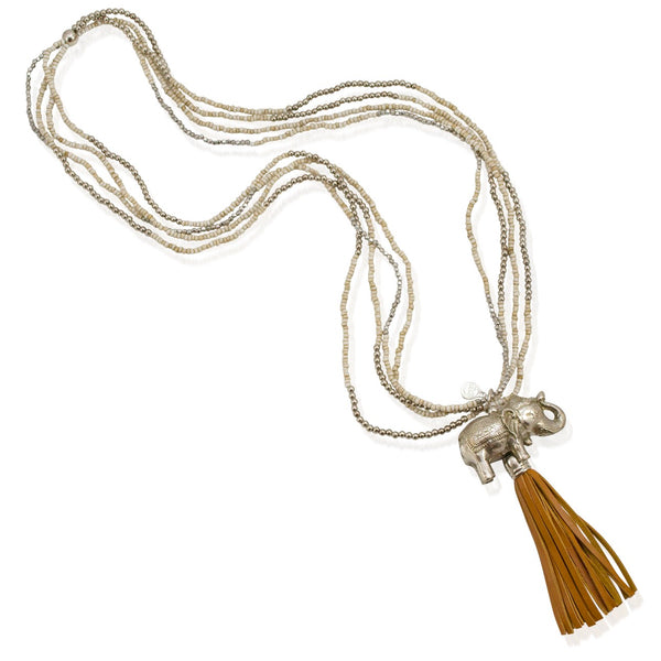 Long Elephant Pendant and Leather Tassel Necklace