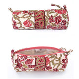 Hand Block Printed Makeup Bag - Wine Trellis