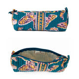 Hand Block Printed Makeup Bag - Retro Butterflies