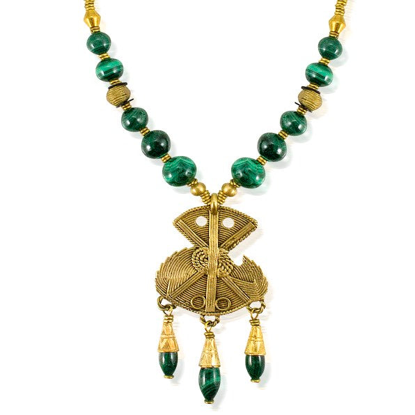 Malachite and Brass African Necklace