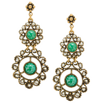 Green Accent Double Drop Medallion Earrings