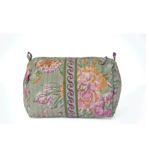Hand Block Printed Toiletries Bag - MEDIUM in Vintage Rose
