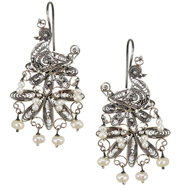 Peacock Silver Filigree Earrings from Oaxaca - Pearls