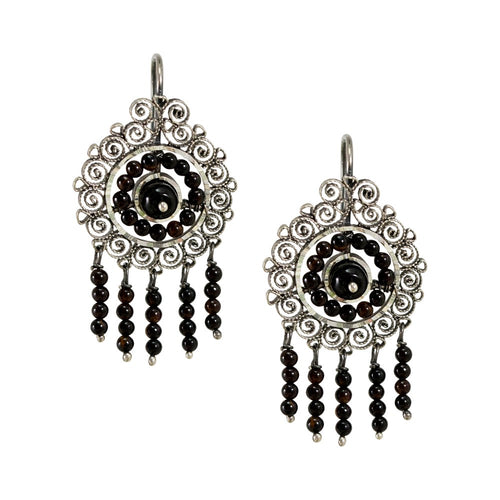 Onyx Silver Filigree Earrings from Oaxaca - Black