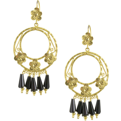 Mexican Filigree Earrings from Oaxaca - Onyx Crystals