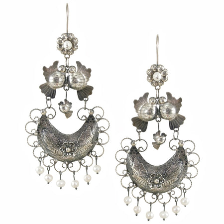 Frida Kahlo Bird Filigree Basket Earrings from Taxco, Mexico