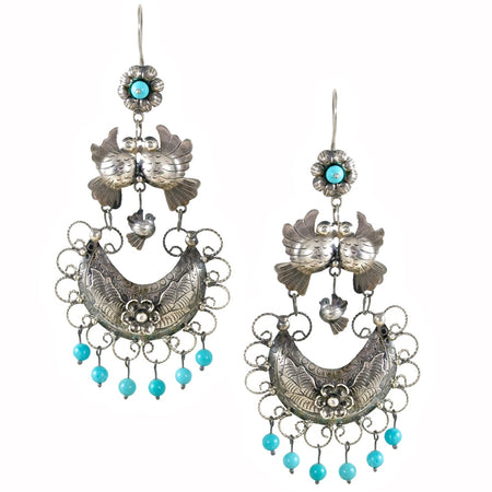 Love Bird Drop Earrings from Taxco, Mexico with Pearls