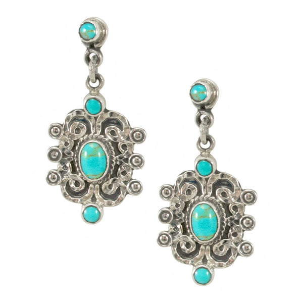 Turquoise and Silver  Drop Earrings from Taxco, Mexico