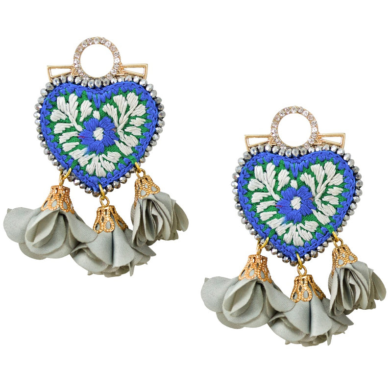Crystal and Embroidered Heart Mexican Earrings - Blue, Green and Grey
