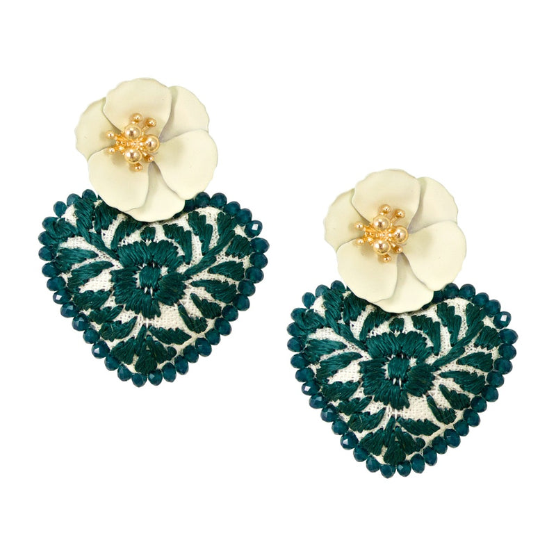 Embroidered Mexican Heart Earrings