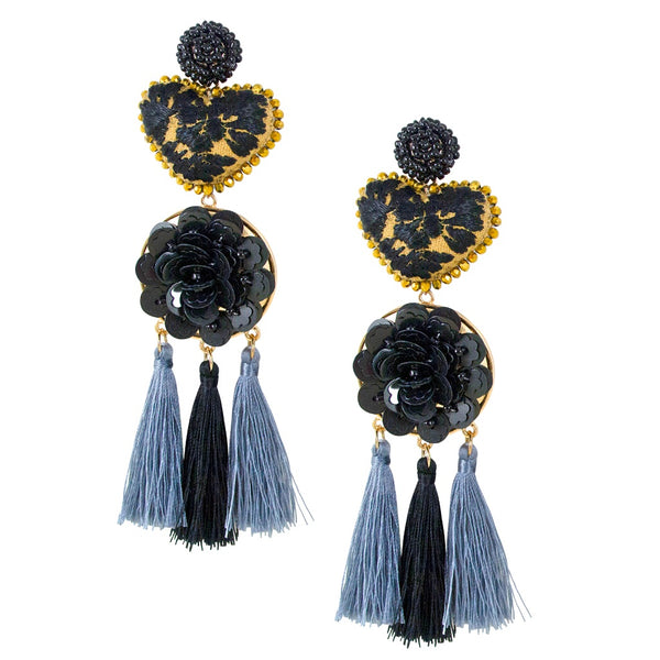 Crystal and Embroidered Heart Mexican Earrings - Black and Cafe with Tassel