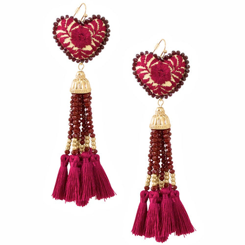 Crystal Embellished Tassel and Embroidered Heart Mexican Earrings - Burgundy