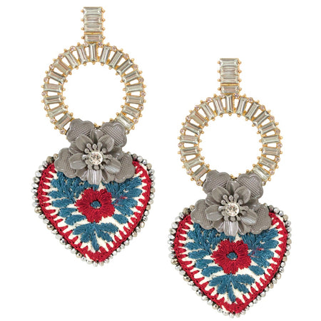Red and Gold Hand Beaded Disc Earrings