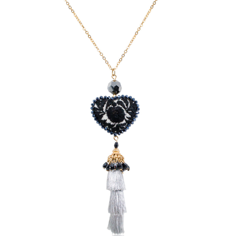 Embroidered Heart Mexican Drop Tassel Necklace