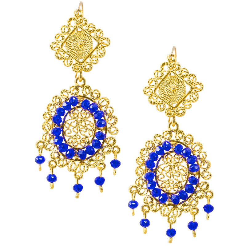 Mexican Filigree Earrings from Oaxaca - Blue Crystal Detail