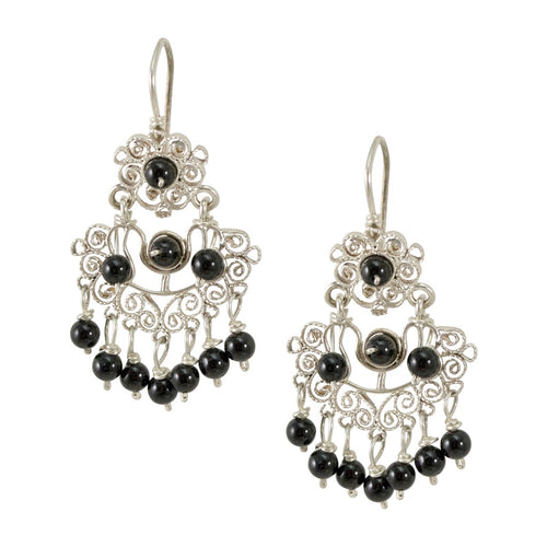 Sterling Silver Frida Kahlo Filigree Earrings with Onyx