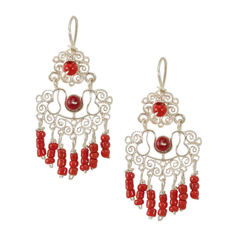 Sterling Silver Frida Kahlo Filigree Earrings with Coral Beads