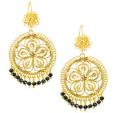 Mexican Filigree Earrings from Oaxaca with Black Crystal Detail