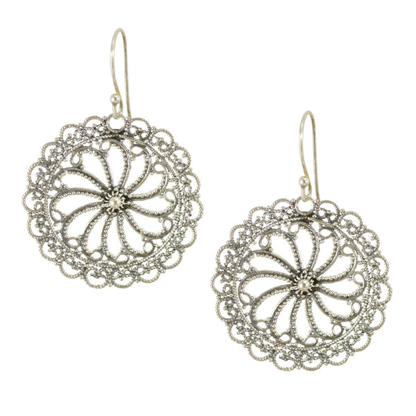 Round Filigree Drop Pendant Earrings from Taxco, Mexico