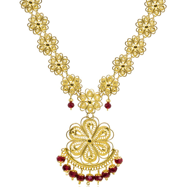 Mexican Filigree Pendant Necklace from Oaxaca - Red Crystal Beads