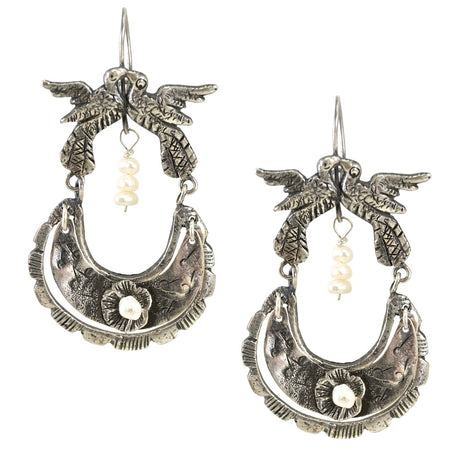 Mexican Filigree Earrings from Oaxaca - Blue Crystals **GLOW STRONG ITEM**