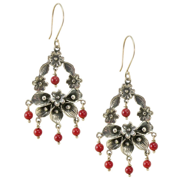 Calla Lily and Flower Wreath Silver Drop Earrings from Taxco, Mexico - Red Coral Beads