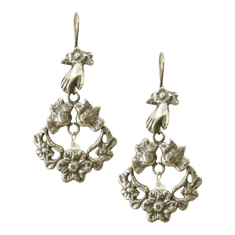 Traditional Hand Carrying Birds with Flower Silver Mold Drop Earrings