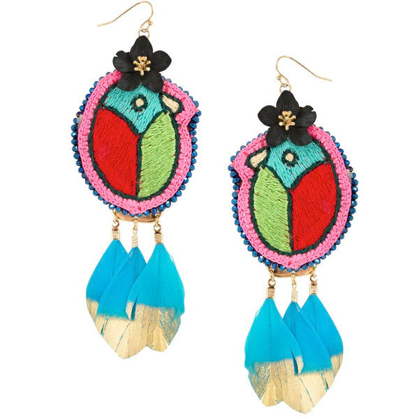 Pájaro Embroidered Mexican Earrings