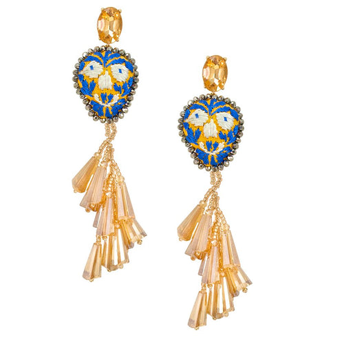 "Embroidered ""Calavera"" Drop Earrings"