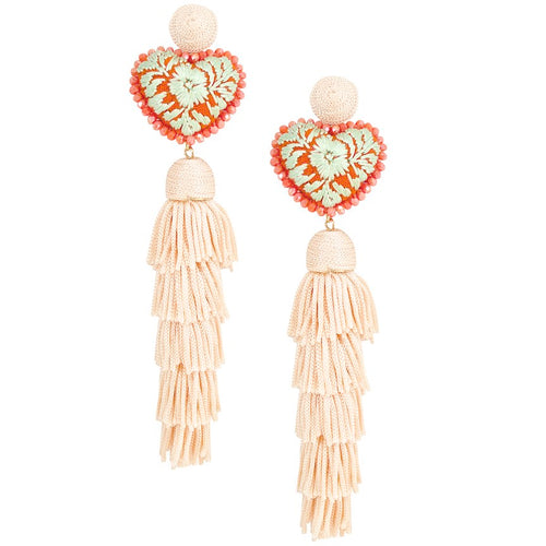 Embroidered Heart with Tassel Mexican Drop Earrings