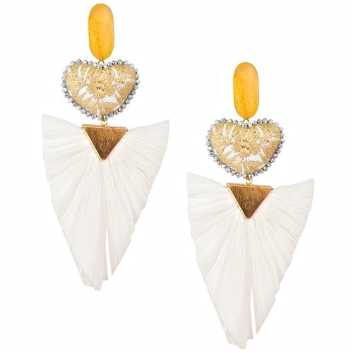 Statement Embroidered Heart with Raffia Fan Mexican Earrings